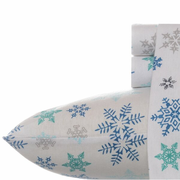 Tossed Snowflake Cotton Flannel Sheet Set by Eddie Bauer