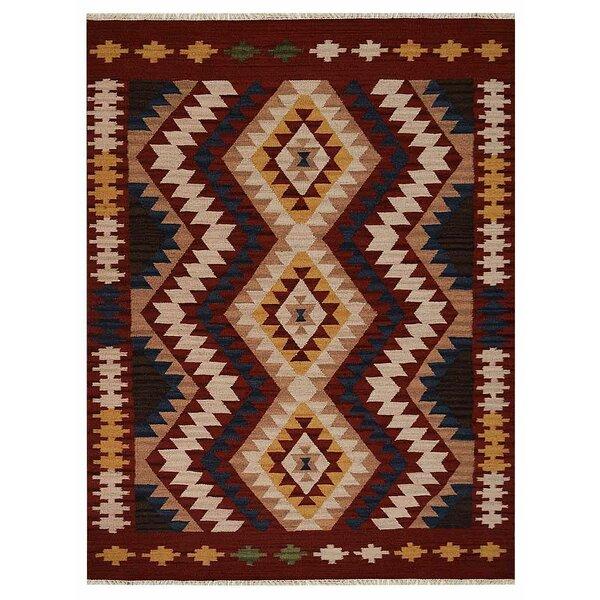 St Catherine Handmade Kilim Wool Red/Beige Area Rug by Millwood Pines