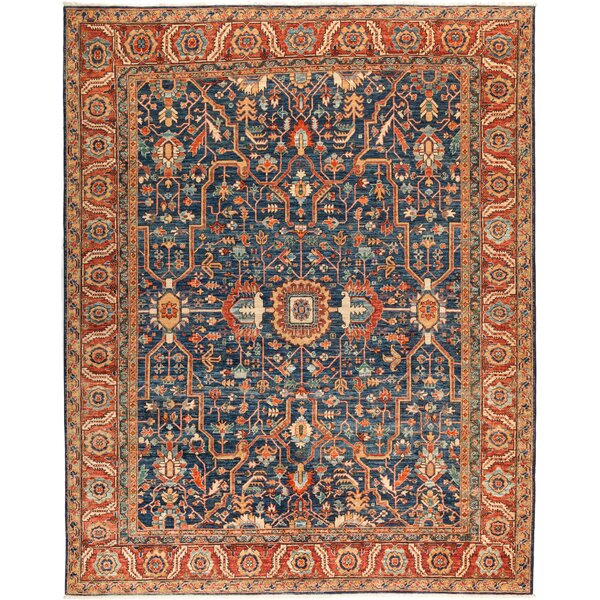 One-of-a-Kind Heineman Hand Knotted Wool Blue Area Rug by Bloomsbury Market