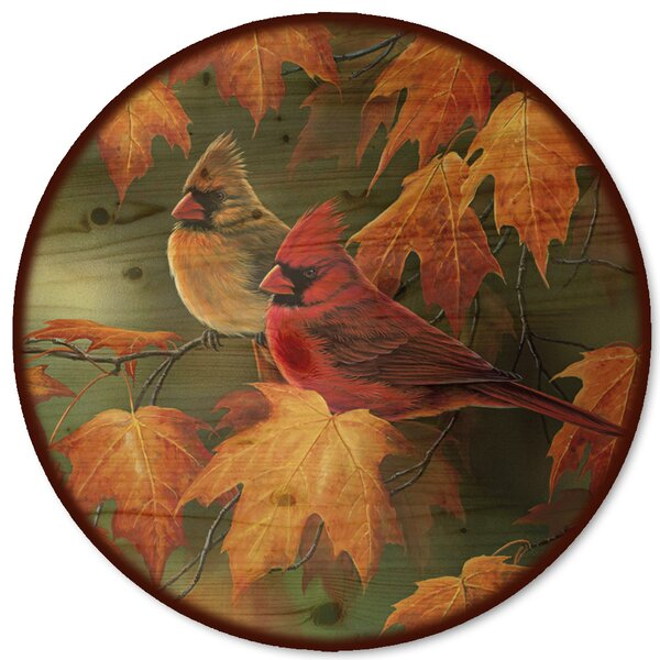 Maple Leaves and Cardinals Lazy Susan by WGI-GALLERY