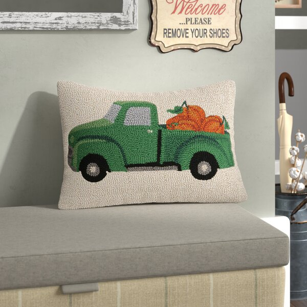 Fall Truck With Pumpkin Wool Lumbar Pillow by August Grove