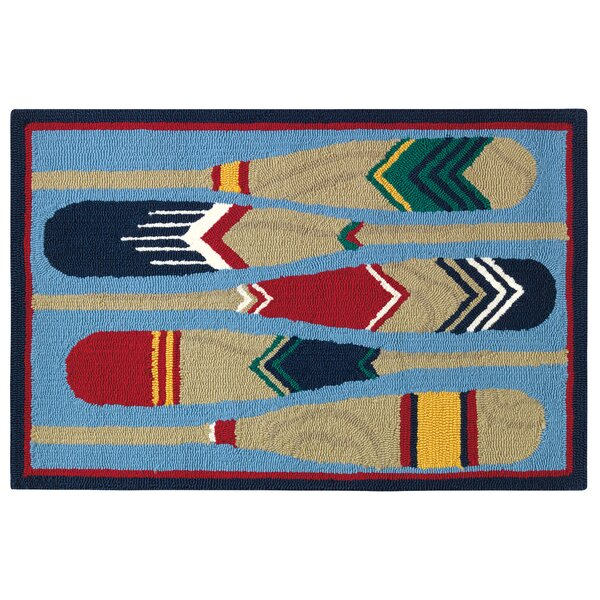 Paddles Hand-Hooked Blue/Brown Indoor/Outdoor Area Rug by CompanyC
