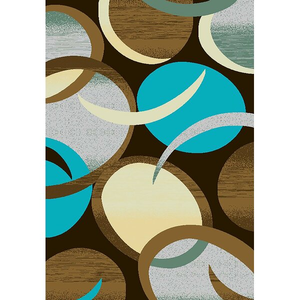 Mccampbell 3D Hand Carved Turquoise/Brown Area Rug by Ivy Bronx