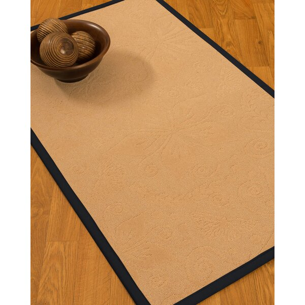 Vanmeter Border Hand-Woven Wool Beige/Midnight Blue Area Rug by Red Barrel Studio