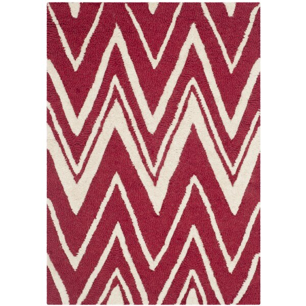 Martins Hand-Tufted Wool Red/Ivory Area Rug by Wrought Studio
