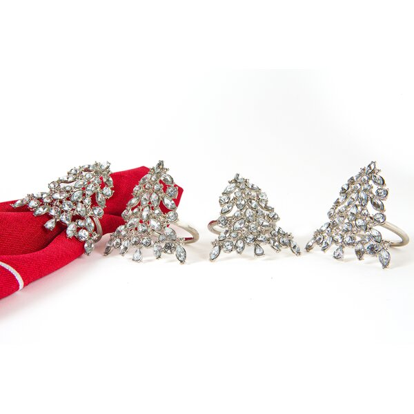 Shimmer Holiday Christmas Tree Jeweled Napkin Ring (Set of 4) by Manor Luxe