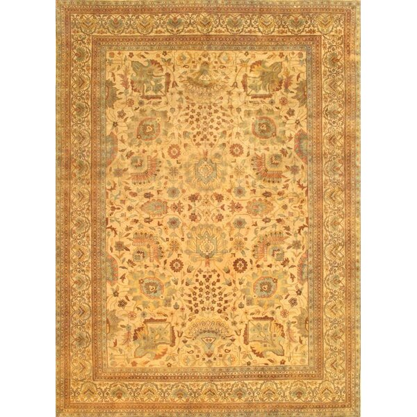 Sultanabad Design Hand-Knotted Wool Beige/Brown Area Rug by Pasargad NY
