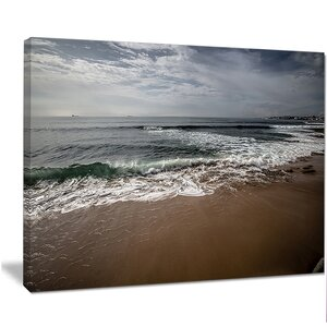 'Soft Waves of Sea on Sandy Beach' Photographic Print on Wrapped Canvas by Design Art