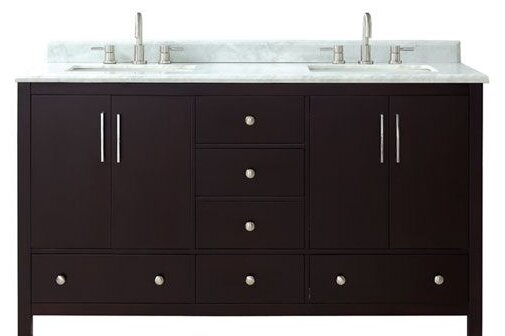 Pergamon Marble Top 61 Double Bathroom Vanity Set by Brayden Studio