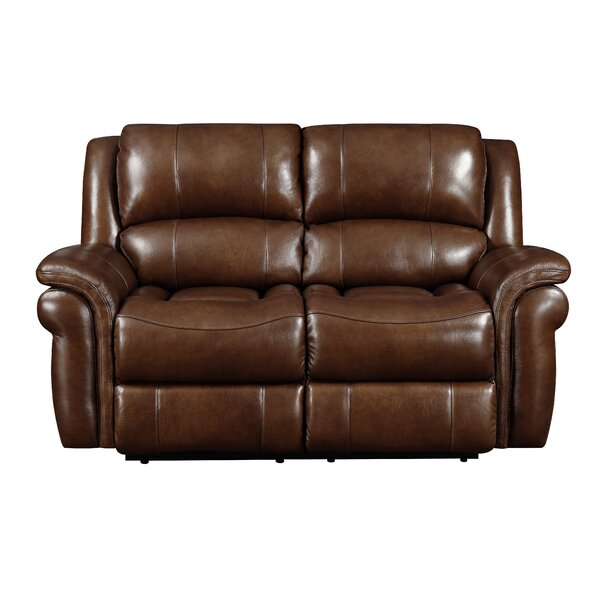 Mowbray Genuine Leather Reclining Loveseat by Winston Porter