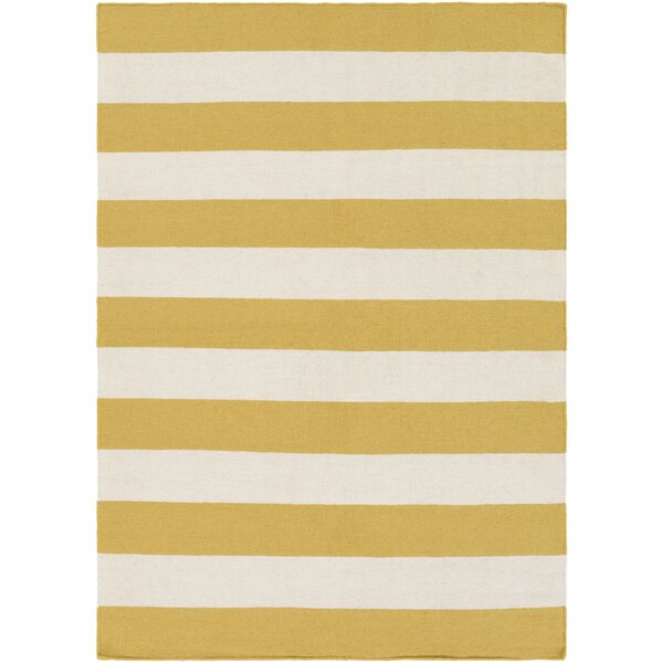 Stonebridge Hand-Woven Wool Pale Orange/White Area Rug by Breakwater Bay