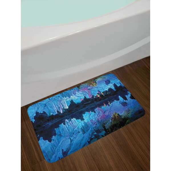 Natural Cave Illuminated Reed Flute Cistern with Artifical Crystal Palace Myst Cave Image Print Non-Slip Plush Bath Rug by East Urban Home