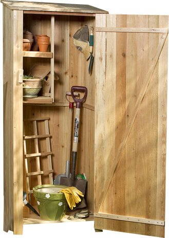 Western Red Cedar 2 ft. 3 in. W x 1 ft. 8 in. D Wooden Vertical Tool Shed by All Things Cedar