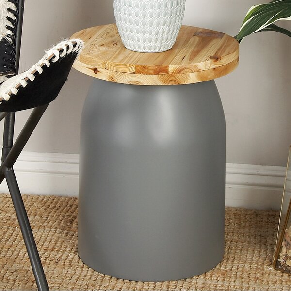Fiberglass Wood Accent Stool by Cole & Grey