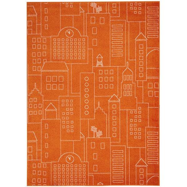 Chunn Orange Area Rug by Ebern Designs