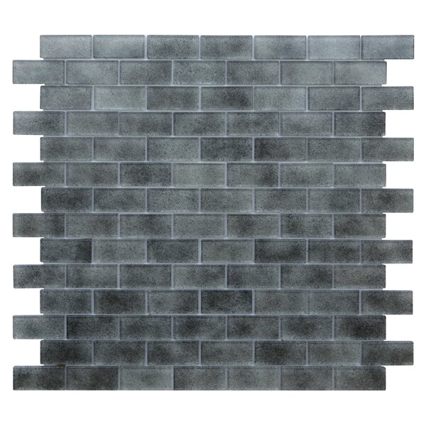 Quartz 0.75 x 1.63 Glass Mosaic Tile in Light/Dark Gray by Kellani