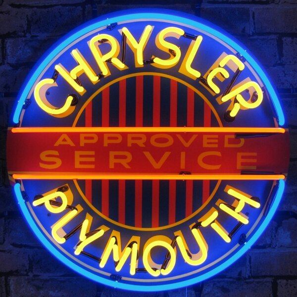 Chrysler Plymouth Neon Sign with Backing by Neonetics