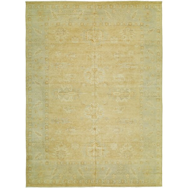 Herrin Hand Knotted Wool Terracotta/Blue Area Rug by Fleur De Lis Living