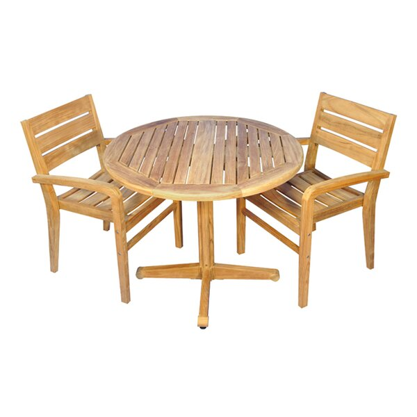 Savannah 3 Piece Teak Dining Set by Rosecliff Heights