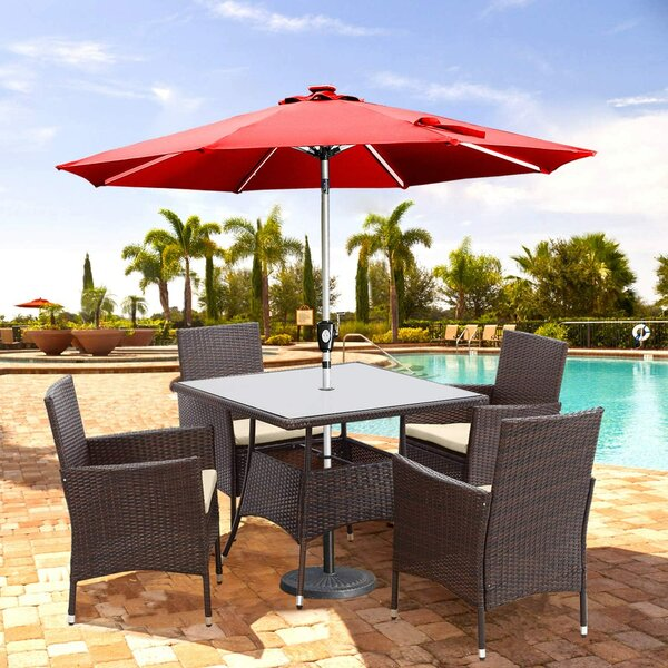 Adrista 5 Piece Dining Set with Cushions by Latitude Run
