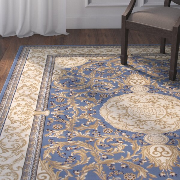 Arpdale High-End Ultra-Dense Thick Bordered Floral Sage Blue Area Rug by Astoria Grand