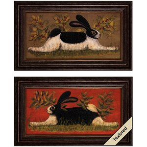Folk Bunny 2 Piece Framed Graphic Art Set by August Grove