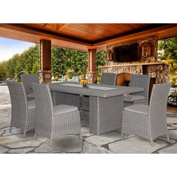 Churchill New Deluxe 7 Piece Dining Set with Cushion by Beachcrest Home