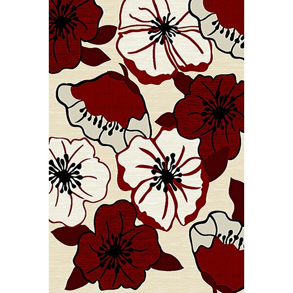 Mccampbell 3D Hand Carved Ivory/Red Area Rug by Ivy Bronx