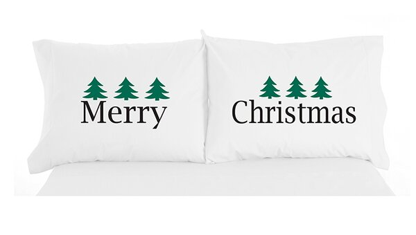 Micro Flannel® Merry Christmas Novelty Print Pillowcase Pair by The Holiday Aisle