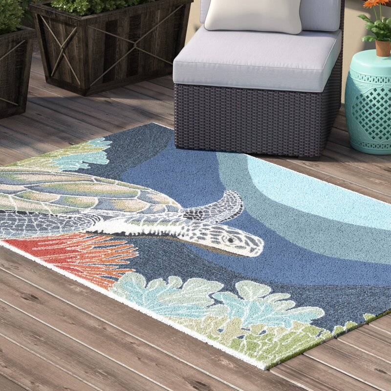 Clowers Blue Indoor Outdoor Area Rug