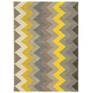 Askins Hand-Tufted Grey/Yellow Area Rug