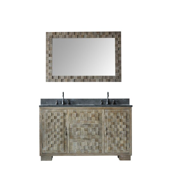 Qing Solid Elm 60 Double Bathroom Vanity Set with Mirror by Bayou Breeze