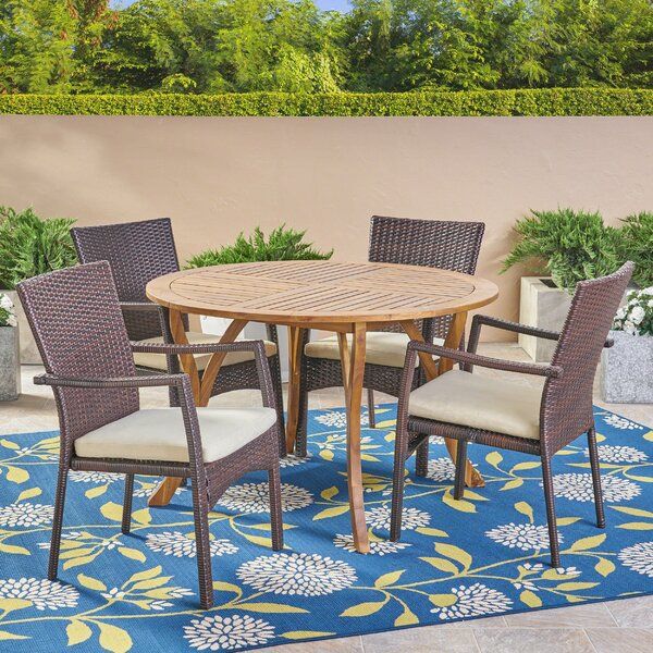 Lindahl 5 Piece Teak Dining Set with Cushions by Highland Dunes