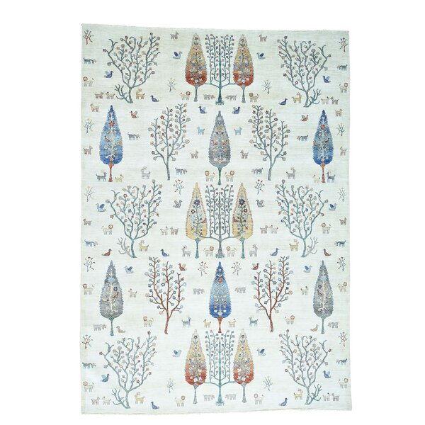 One-of-a-Kind Bagby Overdyed Worn Hand-Knotted Ivory/Denim Blue Area Rug by Isabelline