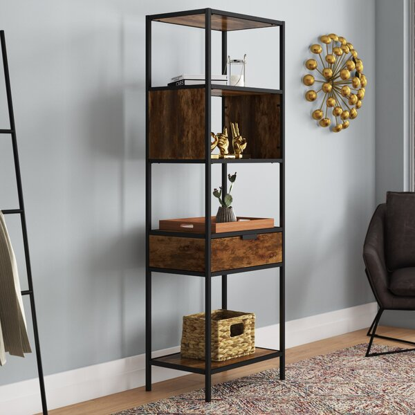 Nena Metal and Wood Display Stand with Drawer by Modern Rustic Interiors