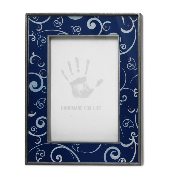 Scintillating Night Painted Glass Picture Frame by Novica