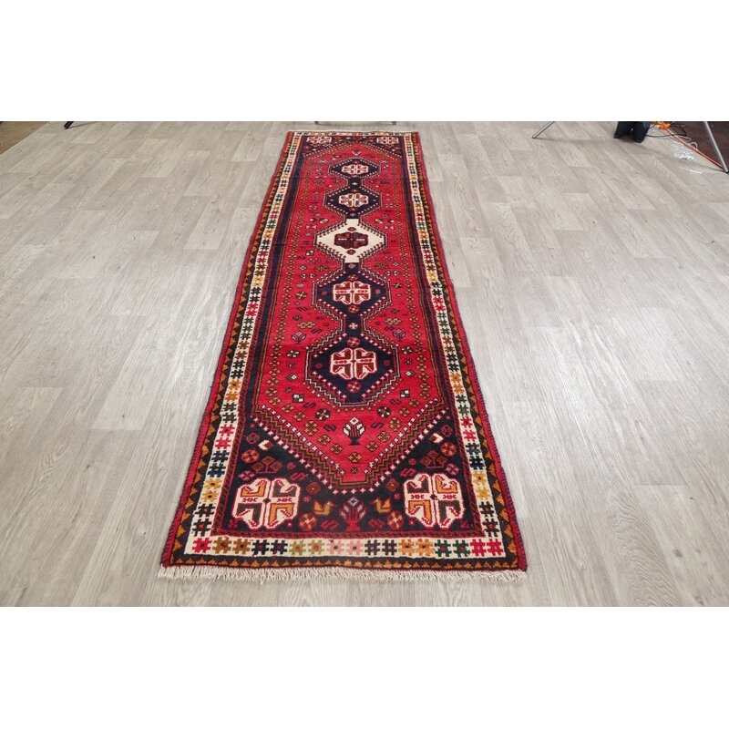 Bloomsbury Market One Of A Kind Marchienne Hand Knotted Shiraz Red 2 7 X 9 6 Runner Wool Area Rug Wayfair