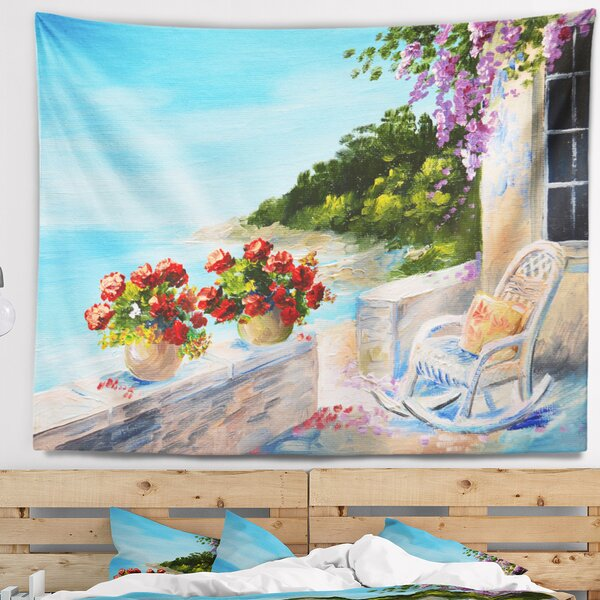 Landscape Balcony Near the Sea Tapestry and Wall Hanging by East Urban Home
