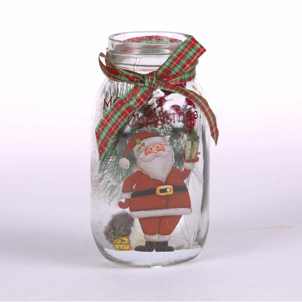 Santa Glass Mason Jar Light Lamp by Glitzhome