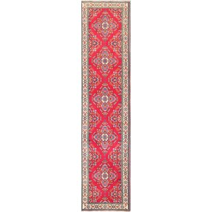 One-of-a-Kind Geometric Tabriz Persian Red/Burgundy Area Rug by Isabelline