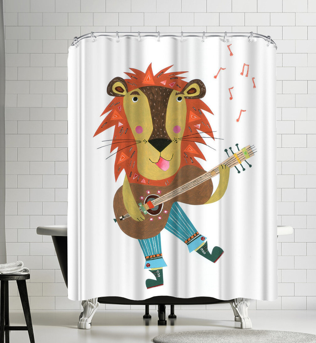 Music Shower Curtain set Guitar With Wooden Floor And Wall Bathroom Curtain 71/""