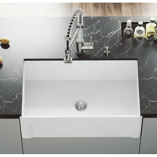 Matte Stone 33 L x 18 W Farmhouse Kitchen Sink wit