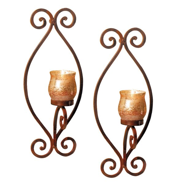 2 Piece Glass Wall Sconce Set by Three Posts