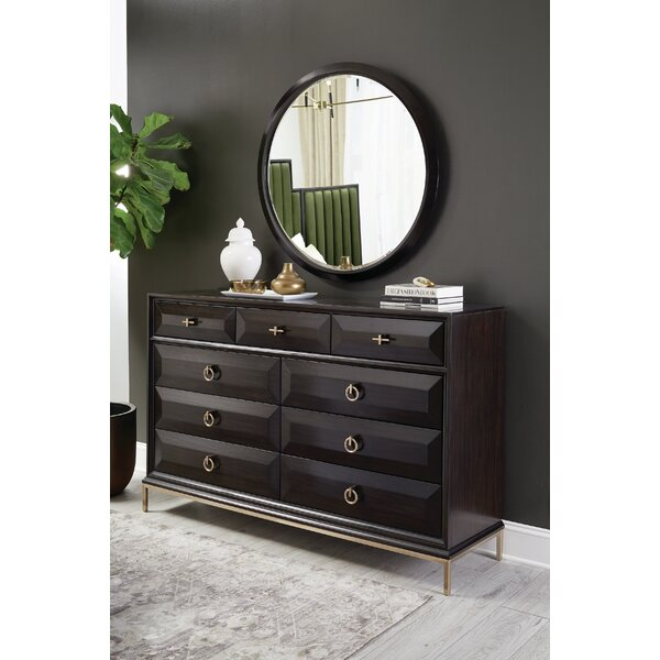 Sayre 9 Drawer Double Dresser with Mirror by Everly Quinn