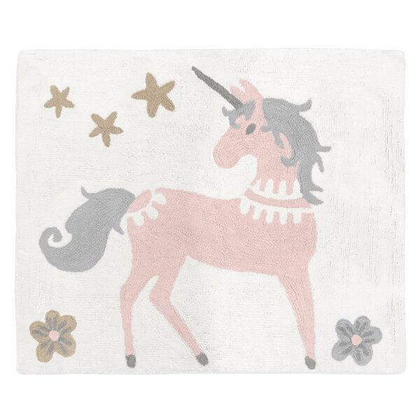 Unicorn Hand-Tufted Cotton Blush Pink/Gray Area Rug by Sweet Jojo Designs