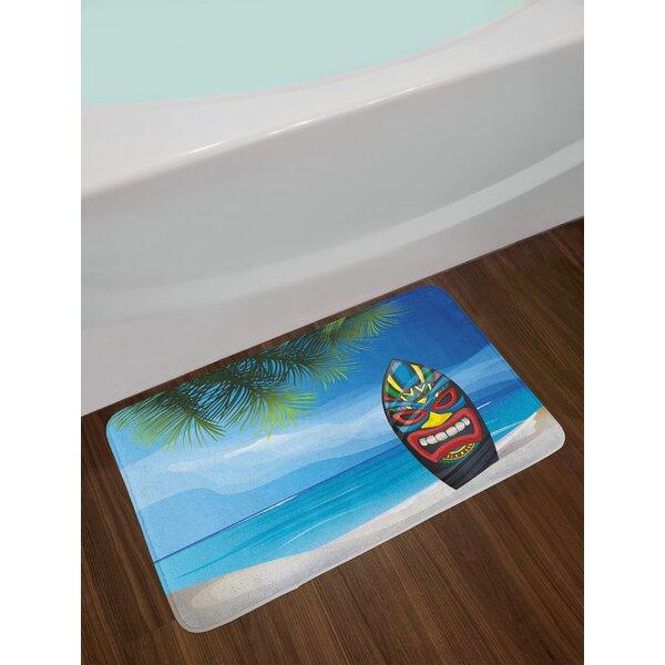 Tiki Bar Warrior Mask Design Surfboard on Ocean Beach Abstract Landscape Surf Print Non-Slip Plush Bath Rug by East Urban Home
