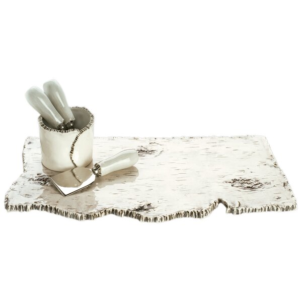 Birch 4 Piece Cheese Board and Utensil Set by Magenta