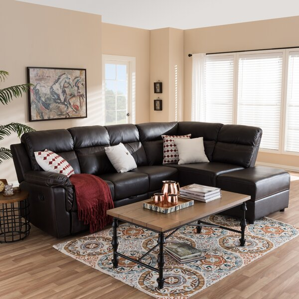 Abelardo Studio Leather Right Hand Facing Reclining Sectional by Trent Austin Design