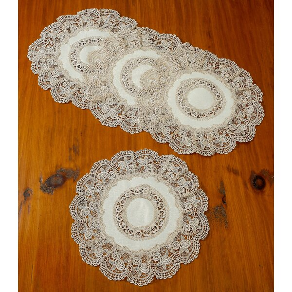 Jonathon Decorative Lace Cutwork Doily Round 16 Placemat (Set of 4) by Astoria Grand