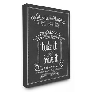 Welcome To The Kitchen Chalkboard' Textual Art by Stupell Industries